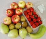 10-27-10 $15 Fruit Share: Gala Apples, Strawberries or Raspberries, Kiwi, D'Anjou Pears, Bananas